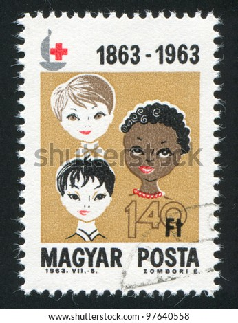 HUNGARY - CIRCA 1963: A stamp printed by Hungary, shows Boys of 3 races,  circa 1963