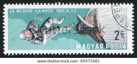HUNGARY - CIRCA 1966: A stamp printed by Hungary, shows Edward White walking in space, circa 1966