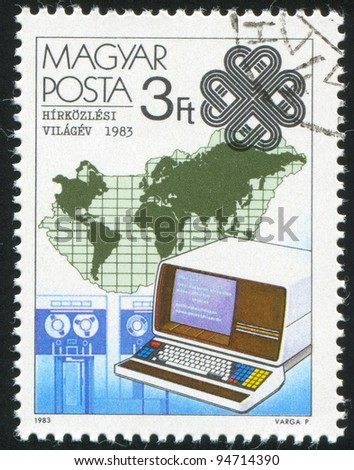 HUNGARY - CIRCA 1983: A stamp printed by Hungary, shows Teletext and Map, circa 1983