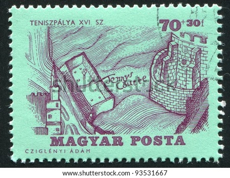 HUNGARY - CIRCA 1964: A stamp printed by Hungary, shows Tennis Court and Castle, circa 1964