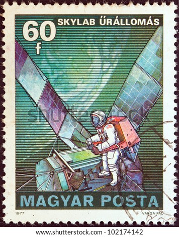 "HUNGARY - CIRCA 1977: A stamp printed in Hungary from the ""Space Research"" issue shows Skylab, circa 1977."