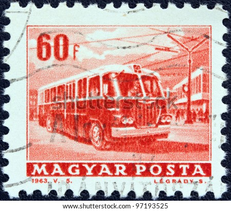 "HUNGARY - CIRCA 1963: A stamp printed in Hungary from the ""Transport and Communications"" issue shows a trolley bus, circa 1963."