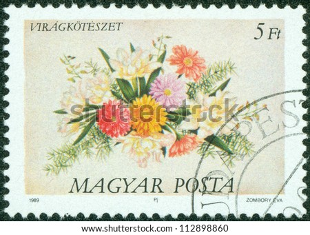 HUNGARY - CIRCA 1989: A stamp printed in Hungary, is depicted Flower Arrangements, circa 1989