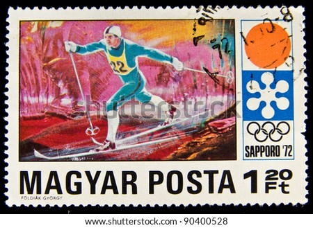 HUNGARY - CIRCA 1972: A stamp printed in Hungary showing cross-country skiing at the Winter Olympics in Sapporo, circa 1972