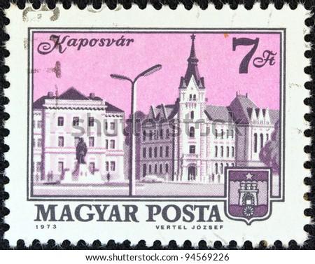 HUNGARY - CIRCA 1973: A stamp printed in Hungary shows a view of Kaposvar, circa 1973.
