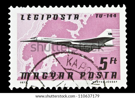 """HUNGARY - CIRCA 1977 : A stamp printed in Hungary, shows Airlines and Maps with the inscription """"TU-144"""", from the series """"Airpost"""", circa 1977"""