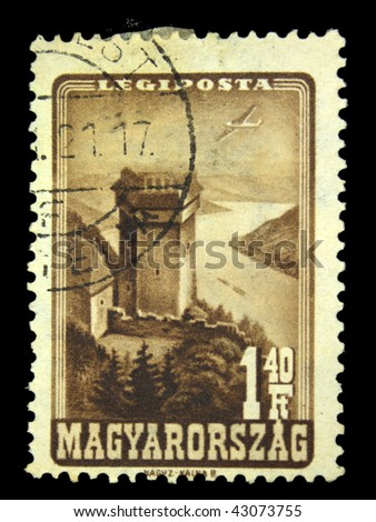 HUNGARY - CIRCA 1951: A Stamp printed in Hungary shows airplane above Visegrad castle on Danuba, circa 1951