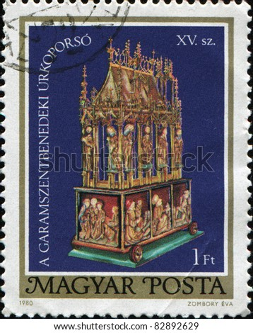 HUNGARY - CIRCA 1980: A stamp printed in Hungary shows Easter Sepulchre of Garamszentbenedek. Easter Sepulchre Designs showing details of sepulchre, circa 1980