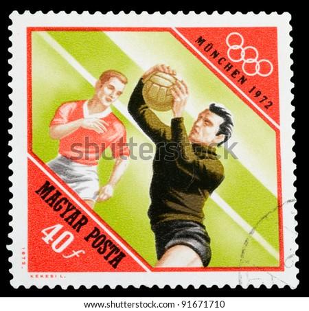 HUNGARY - CIRCA 1972: A stamp printed in Hungary shows football, circa 1972