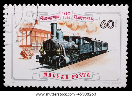 HUNGARY - CIRCA 1976: A stamp printed in Hungary shows image of a steam train, circa 1976