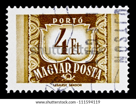 "HUNGARY - CIRCA 1958: A stamp printed in HUNGARY shows image of Post Horn and nominal with the inscription ""Porto"", from the series ""Magyar Posta Postage Due"", circa 1958"