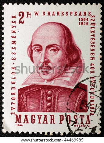 HUNGARY - CIRCA 1964: A stamp printed in Hungary shows image of William Shakespeare, the playwright, circa 1964