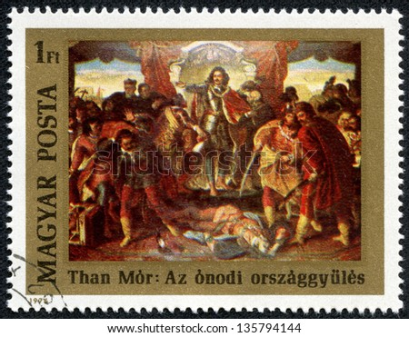 """HUNGARY - CIRCA 1976: A stamp printed in Hungary, shows Painting """"Diet of Onod"""" by Mor Than, with the same inscription, series """"300th Birth Anniversary of Prince Francis II Rakoczy (1676)"""", circa 1976"""