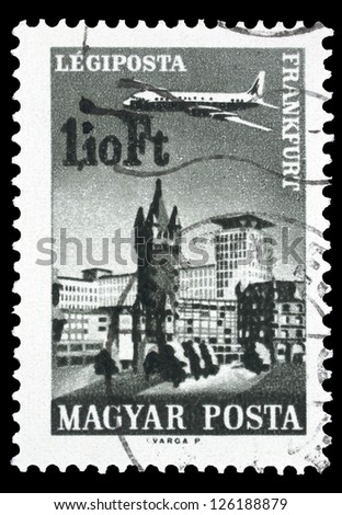 "HUNGARY - CIRCA 1966: A stamp printed in Hungary shows Plane over Frankfurt, with the inscription ""Frankfurt"", from the series ""Plane over Cities served by Hungarian Airways"", circa 1966"