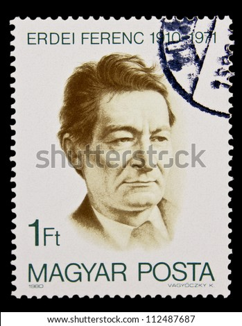 "HUNGARY - CIRCA 1980: A stamp printed in Hungary shows portrait of economist, Ferenc Erdei, 1910 - 1971, with the same inscription, from the series ""Ferenc Erdei"", circa 1980 - stock photo"