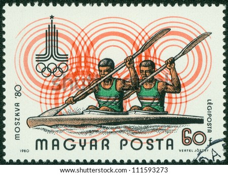 "HUNGARY - CIRCA 1980 : A stamp printed in Hungary shows Rowing and Olympic emblem with the inscription ""Moscow 1980"", from the series ""Olympic Games in Moscow, 1980"", circa 1980"