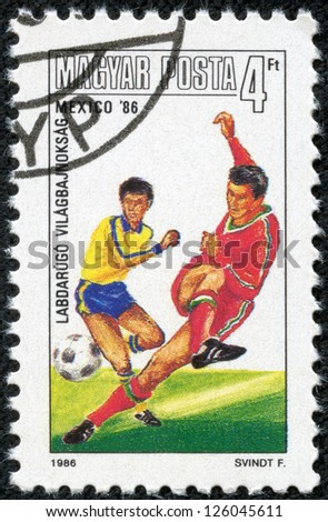 HUNGARY - CIRCA 1986: A stamp printed in the Hungary shows FIFA World Cup 1986 in Mexico, circa 1986
