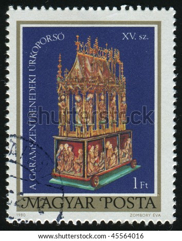 HUNGARY - CIRCA 1980: JEaster Casket of Garamszentbenedek 15th Century (Restoration), circa 1980.