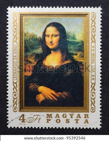 HUNGARY – CIRCA 1974: postage stamp printed in Hungary showing an image of Mona Lisa or La Gioconda from Leonardo Da Vinci, circa 1974.