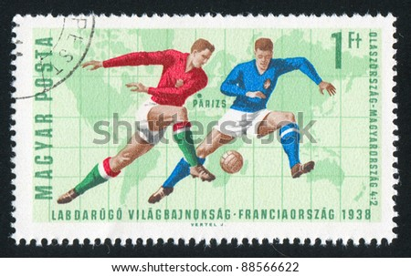 HUNGARY - CIRCA 1966: stamp printed by Hungary, shows football, circa 1966