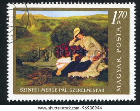 HUNGARY - CIRCA 1967: stamp printed by Hungary, shows lovers,  by Pal Szinyei Merse, circa 1967