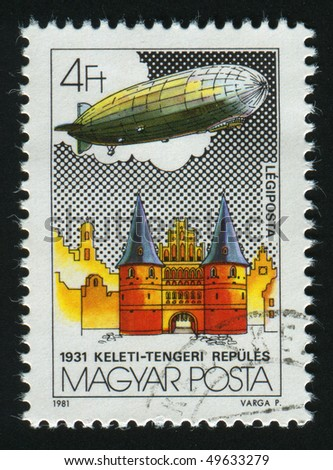 HUNGARY - CIRCA 1981: stamp printed by Hungry, shows Graf Zeppelin Flights, circa 1981. - stock photo