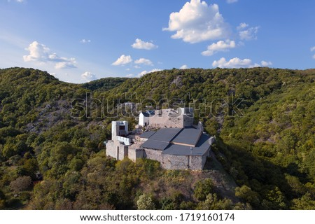 Hungary Csokako. 13th century castle ruins. Thia castle it has the Vertes hills. I taken this photos about the csatle with drone. Photo stock ©
