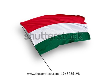 Hungary flag isolated on white background with clipping path. close up waving flag of Hungary. flag symbols of Hungary. Сток-фото ©
