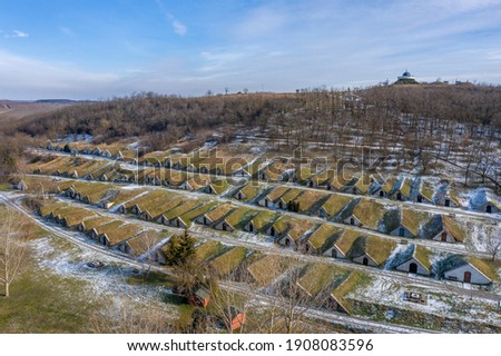 Hungary, Gombos hills vinery from drone view Stock fotó ©