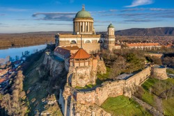 Hungary - Historical Basilica of Esztergom city from drone view near Danube river