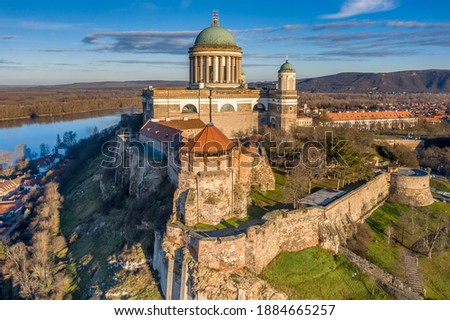 Hungary - Historical Basilica of Esztergom city from drone view near Danube river Сток-фото ©