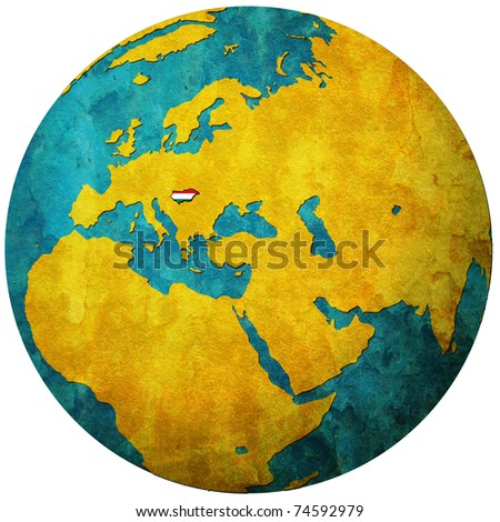 hungary territory with flag on map of globe