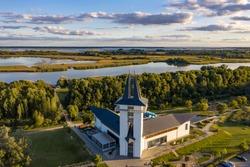 Hungary - Tisza lake at Poroszló city from the air