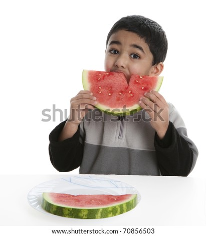 Hungry Child Eating a Watermelon Slice, Isolated, White