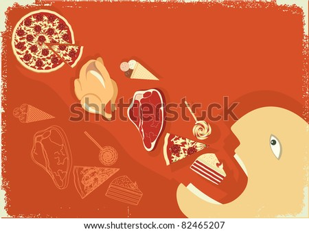 Hungry man eating a lot of food. grunge poster.Raster