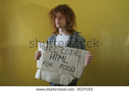 hungry programmer holding a cardboard with text