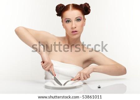 Hungry woman - stock photo