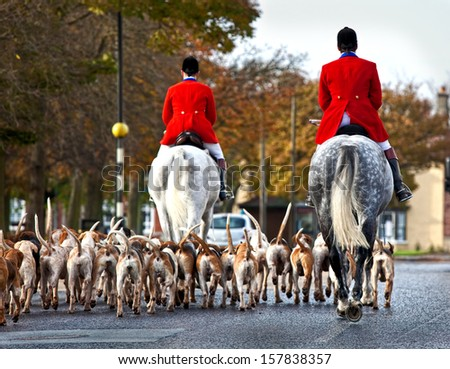 Hunt master & hounds in the street #157838357