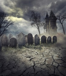Hunted house on spooky graveyard