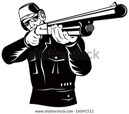 aiming a shotgun