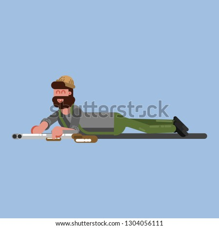 Hunter crawl to the target. Hunter isolated on color background. Hunters   icon illustration.