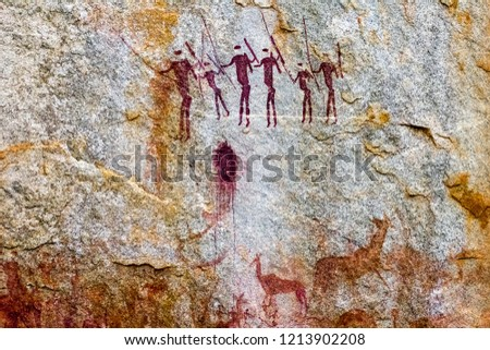 Hunter-gatherer rock art paintings in Chinhamapare Hill within Vumba Mountain Range in Manica, Mozambique