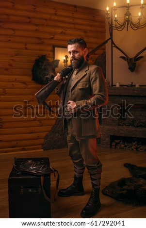 hunter man in vintage clothing...