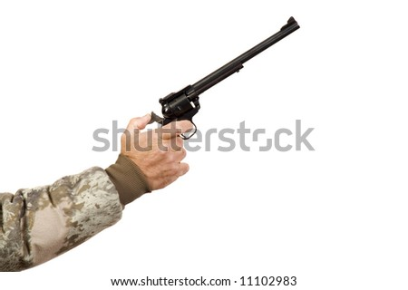 Hunter pulling back hammer on a single action revolver while shooting at target and isolated on white