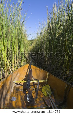 Hunter's boat in reed
