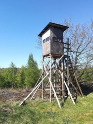 Hunter's stand in the forest seen from the front
