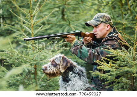 Shutterstock Hunter with a german wire-haired dog in a pine forest, hunt