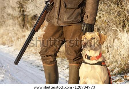 Hunter with dog #128984993