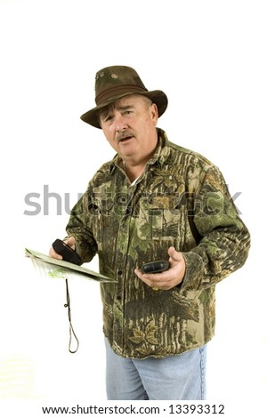 Hunter with GPS's and topo map, trying to get his bearing and still wondering where he is, and if he is lost, isolated on a white background
