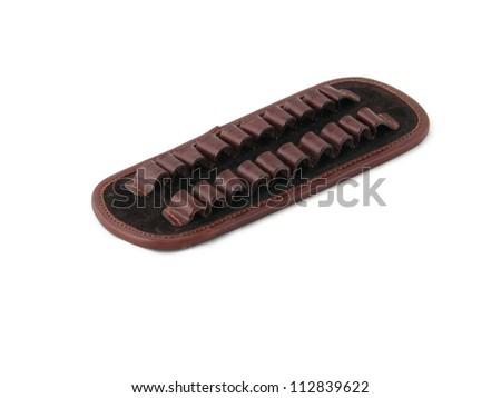 Hunting leather ammunition belt for ammo cartridges